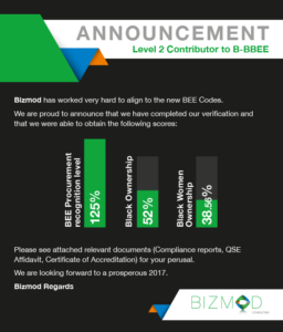 Announcement of reaching Level 2 Contributor to B-BBEE